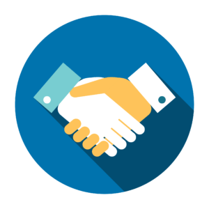Blue icon with hands shaking hands